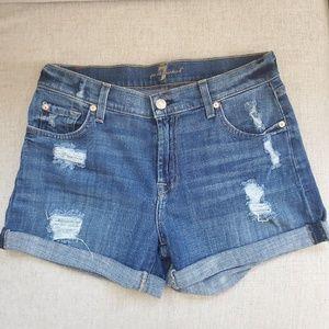 7 for All Mankind Cuffed Denim Jean Shorts Frayed